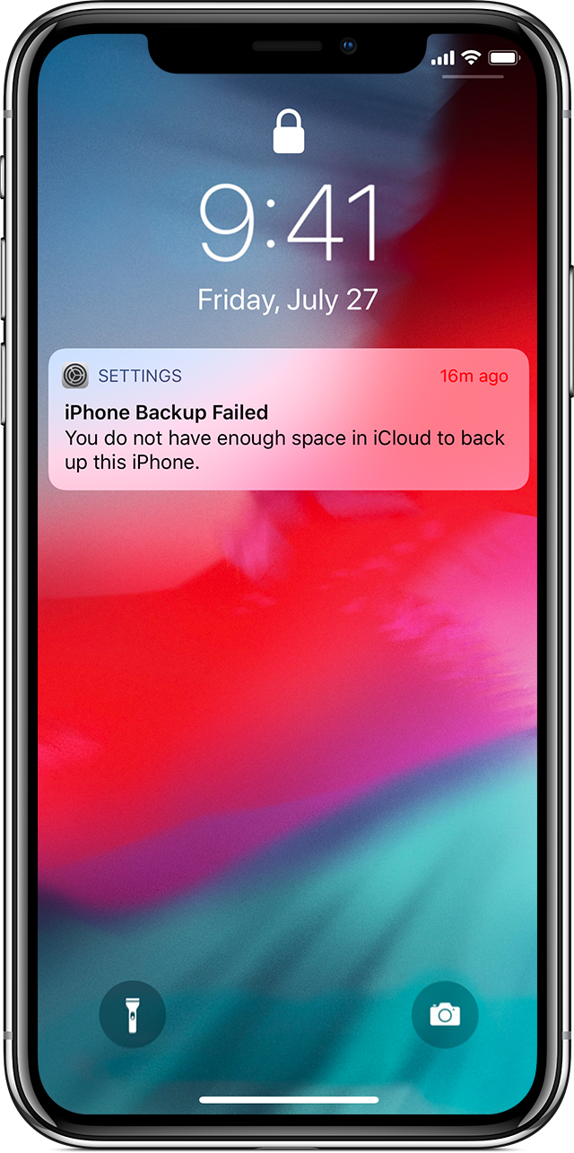 iPhone showing iPhone Backup Failed message due to not having enough space in iCloud