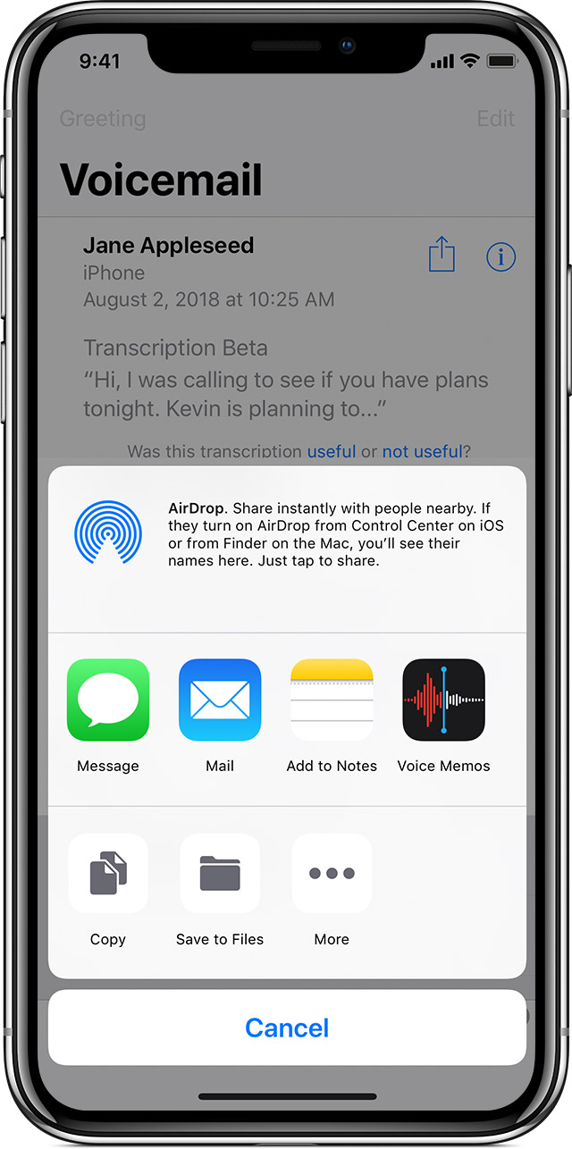 Save and share visual voicemail messages on your iphone apple support then save your voicemail message or choose messages mail or airdrop then type and send your message with the attached voicemail you can also share the m4hsunfo