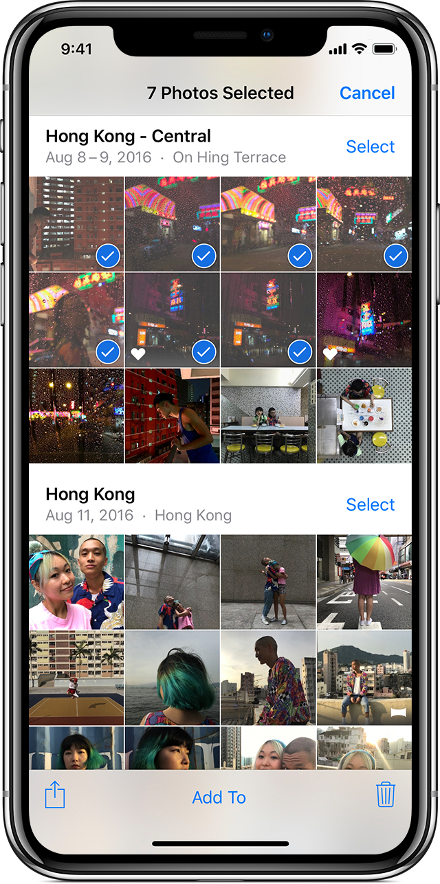 Multiple photos selected in the Photos app