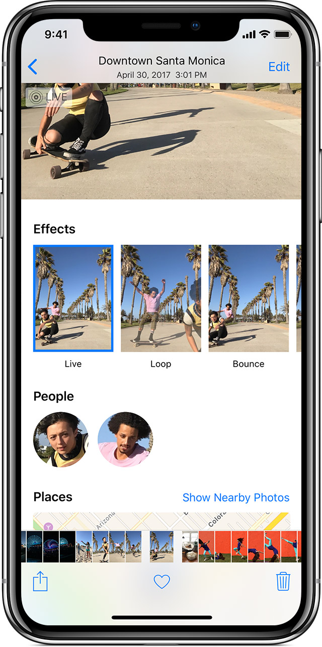 adding Live Photos effects on iPhone