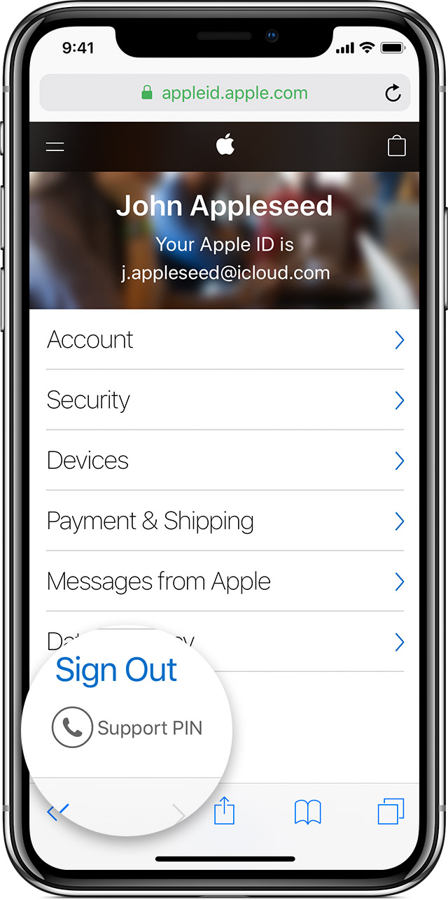 iPhone showing Apple ID options with Sign Out Support PIN magnified