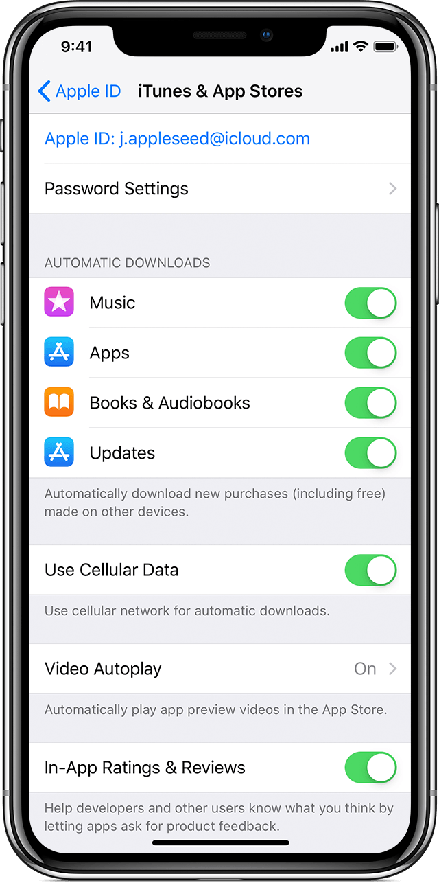 Turn on Automatic Downloads or App Updates - Apple Support