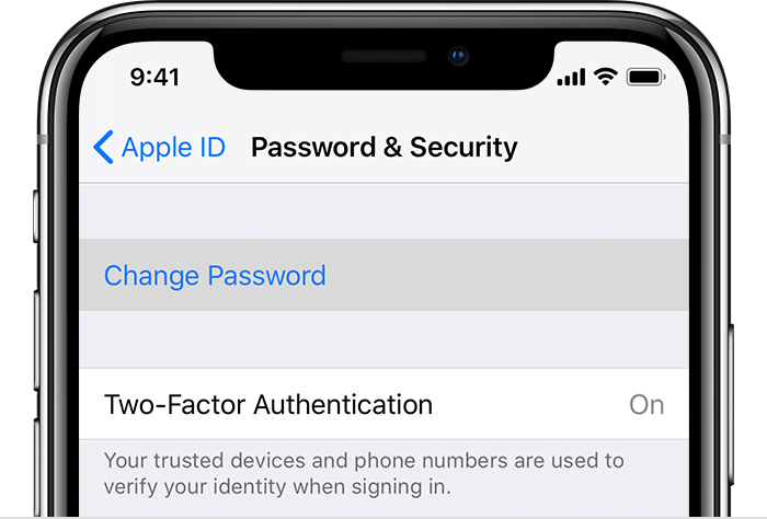 Change password screen on iPhone