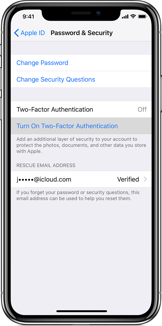 Password & Security screen on iPhone