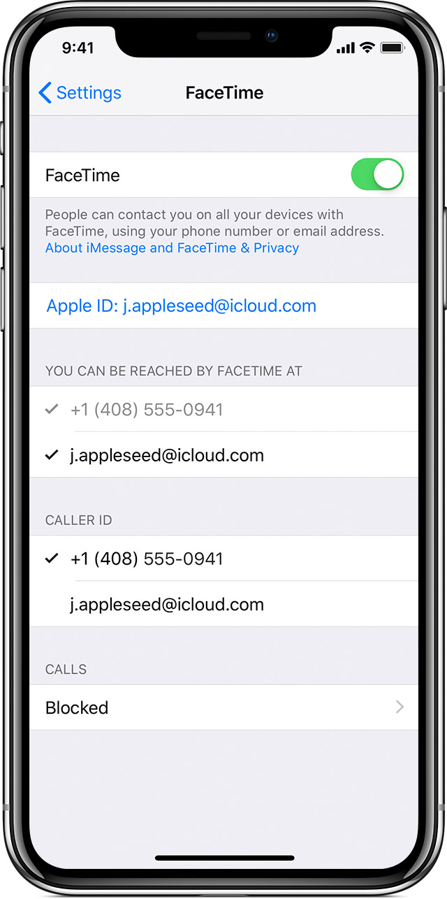 screen showing FaceTime settings