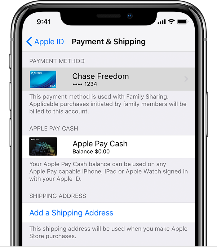 Payment & Shipping screen on iPhone