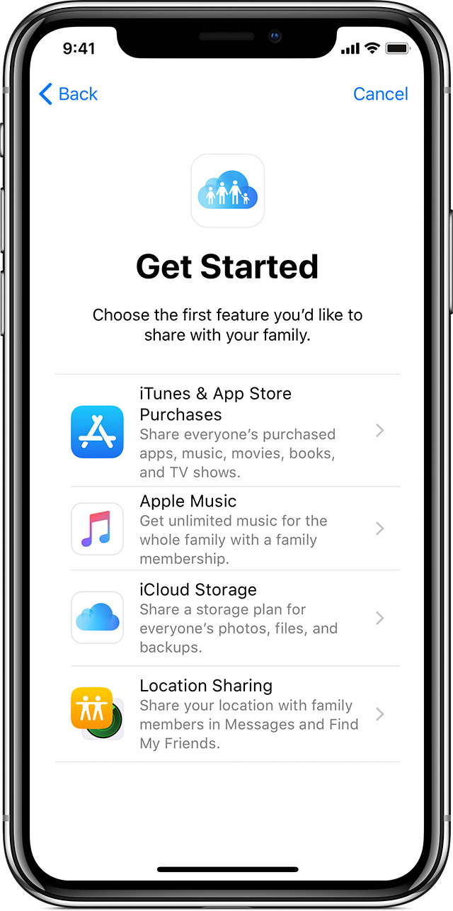 iPhone showing Get Started screen for Family Sharing