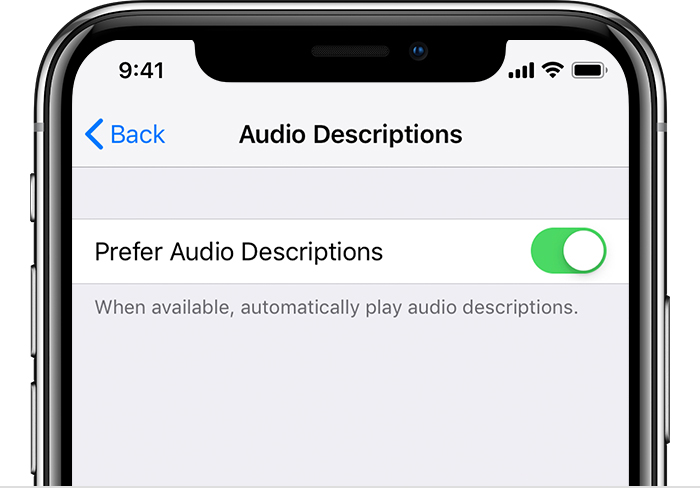 A cropped image of an iPhone X open to the Audio Descriptions Settings menu. Prefer Audio Descriptions is turned on.