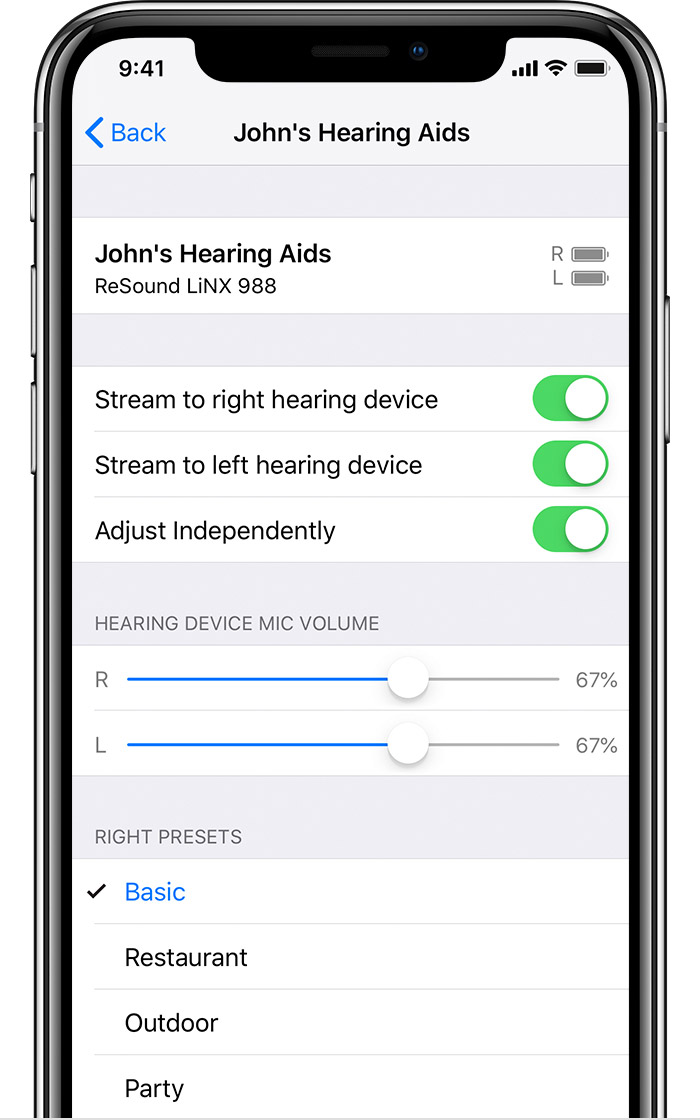 MFi Hearing Device controls screen on iPhone