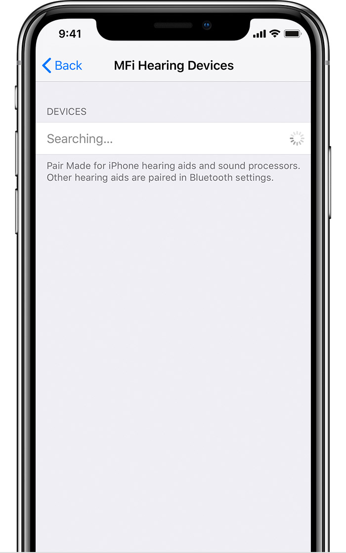 MFi Hearing Devices screen on iPhone