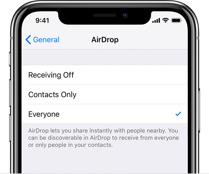 Everyone selected in AirDrop settings