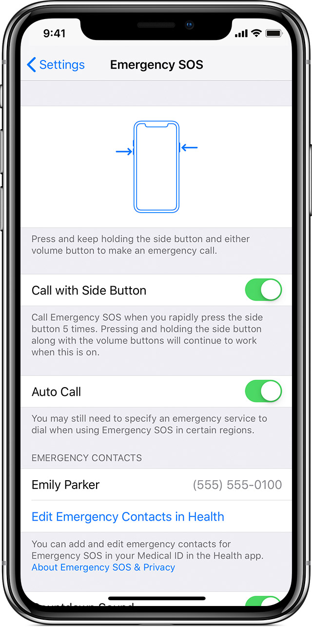 SOS settings on iPhone X
