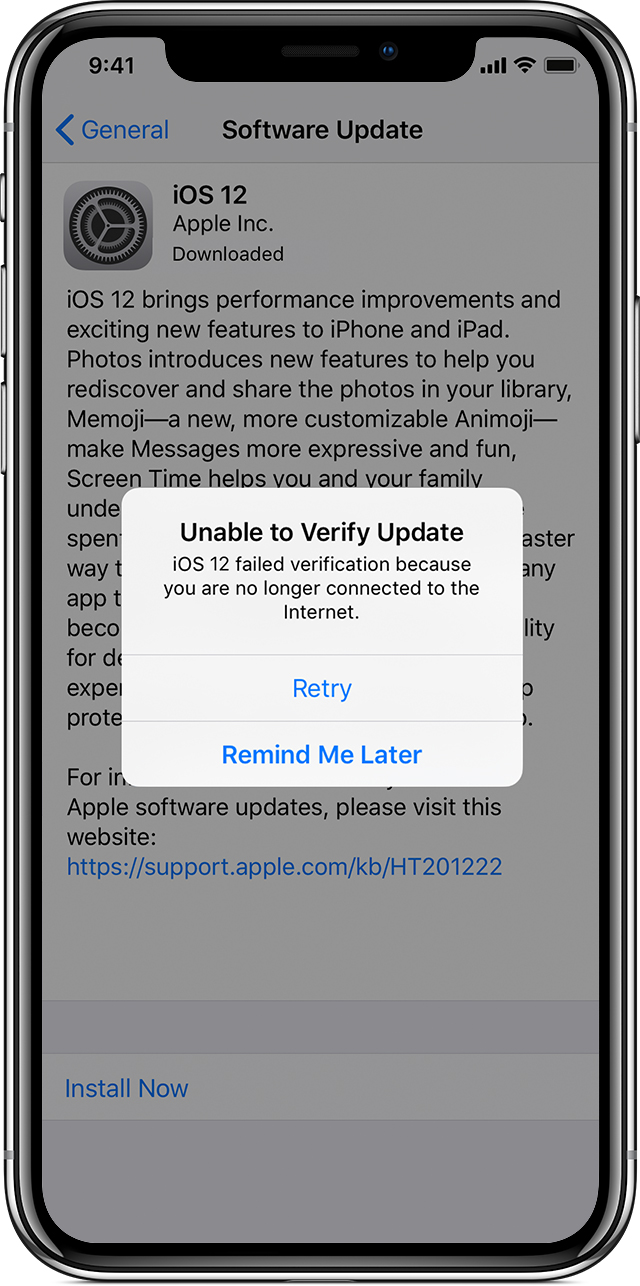 alert on iPhone saying unable to verify update