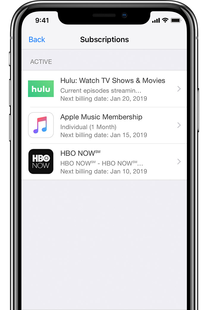 An iPhone X showing Subscriptions to HBO NOW, Apple Music, and Hulu.