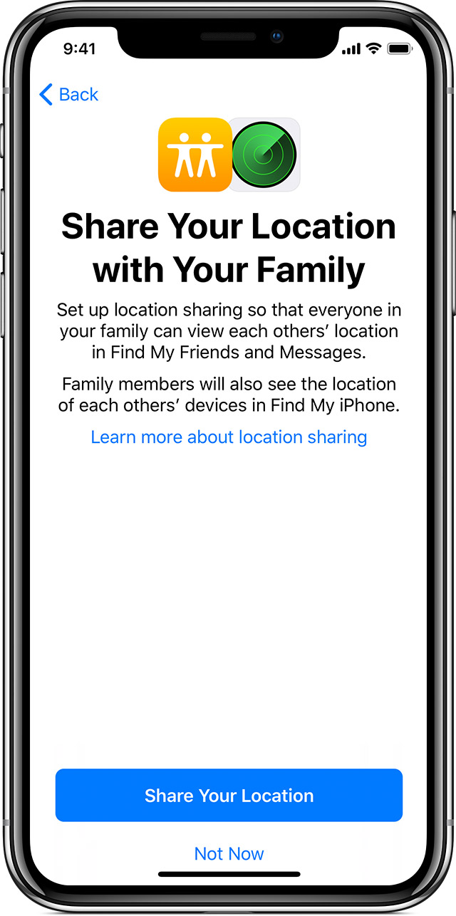 iPhone showing Share Your Location with Your Family