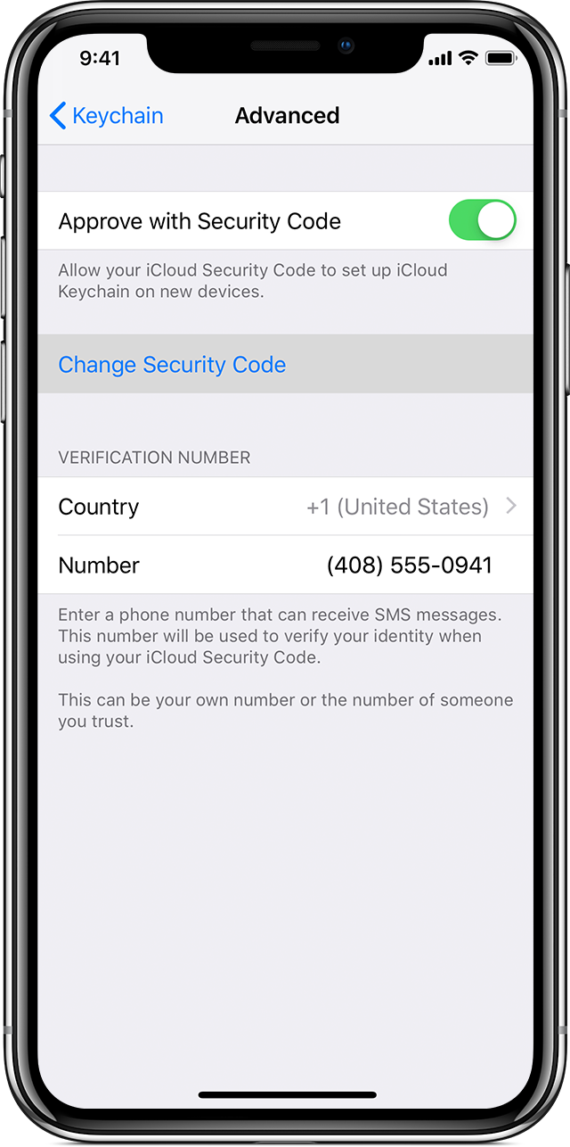 iPhone showing Approve with Security Code turned on