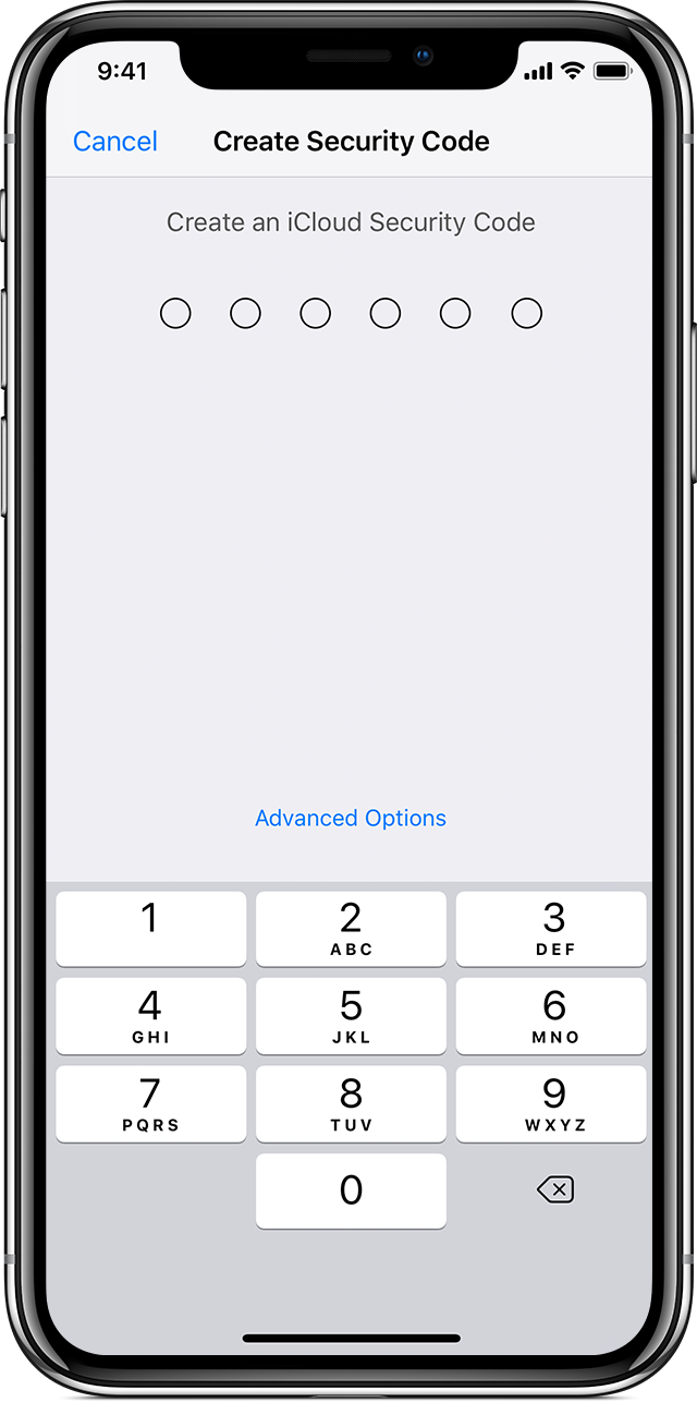 iPhone showing Create Security Code screen