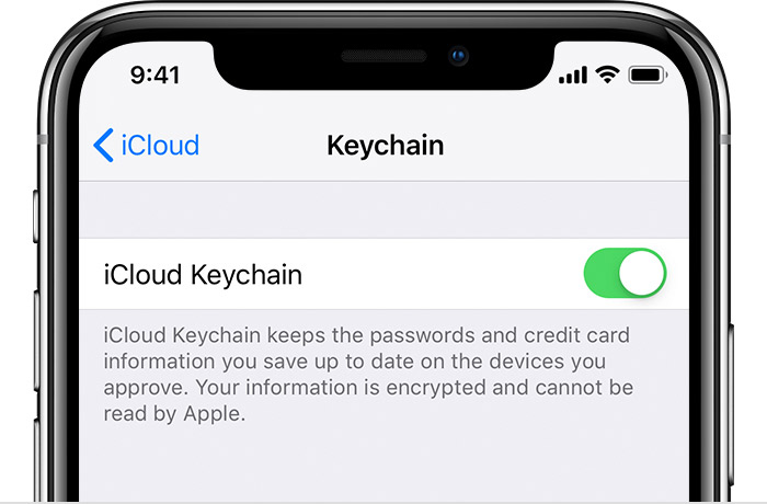 iPhone showing iCloud Keychain turned on
