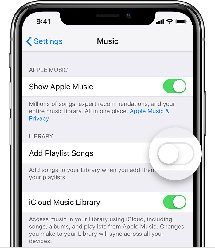 "An iPhone X open to the Music Settings. The ""Add Playlist Songs"" toggle is off."