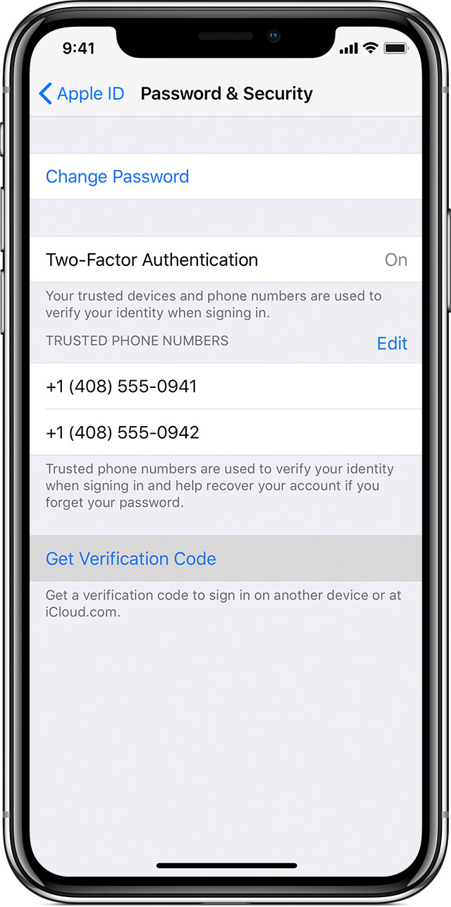 iPhone showing Password & Security screen, with two-factor authentication turned on