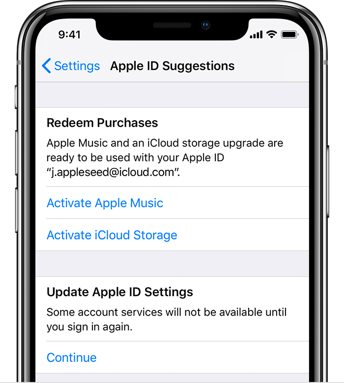 An iPhone X showing an Apple ID Suggestions page. Options to Active Apple Music and iCloud Storage are available.