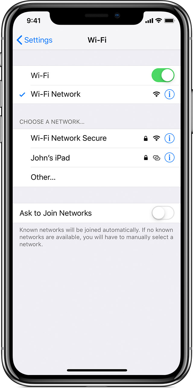 Connect to Wi-Fi on your iPhone, iPad, or iPod touch - Apple Support