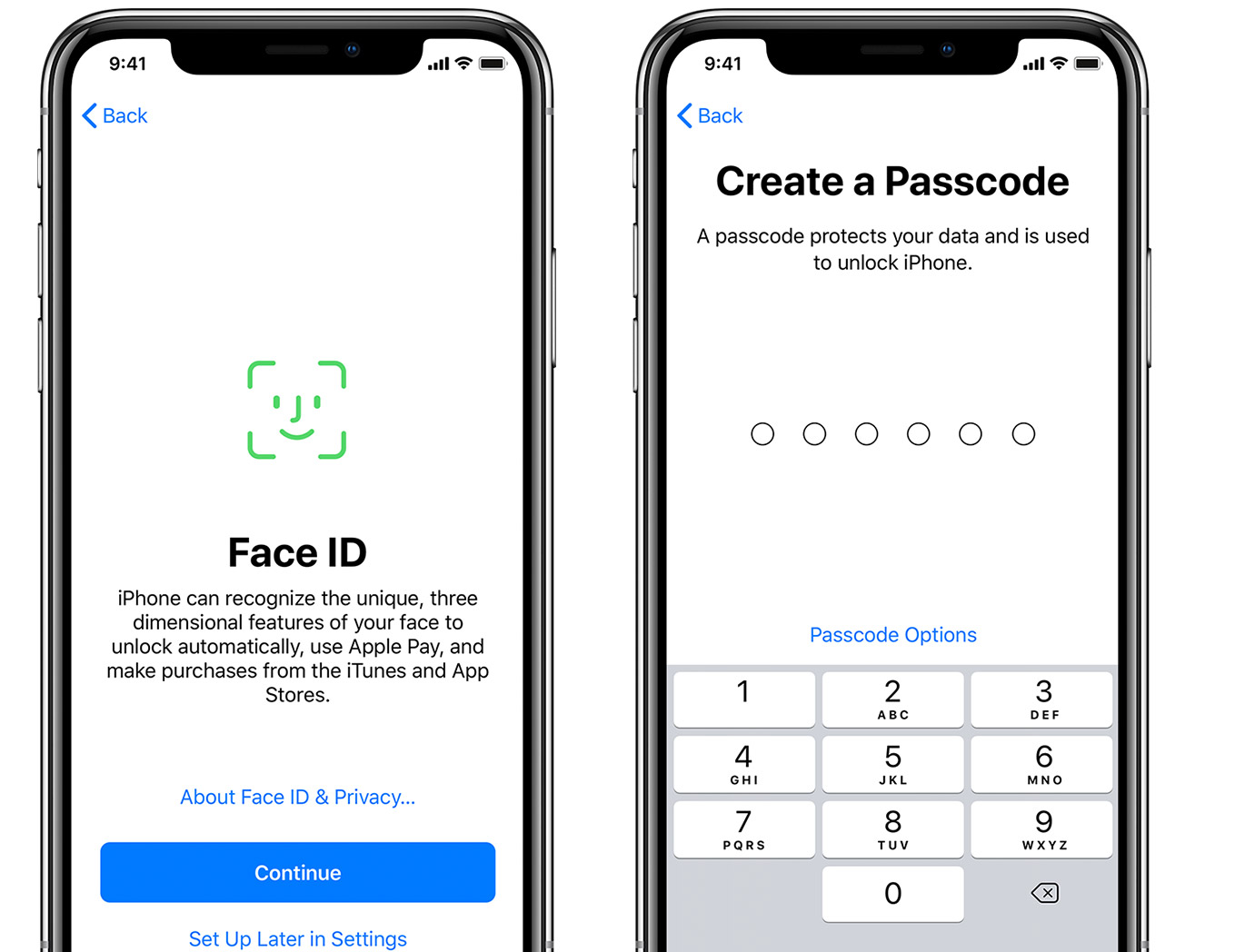 FaceTime and Create a Passcode screens on iPhone