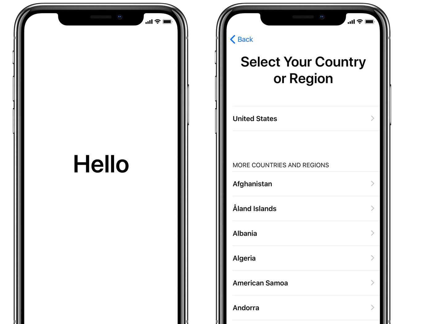 «Hei»-skjermen og skjermbildet for Velg land eller region på iPhone