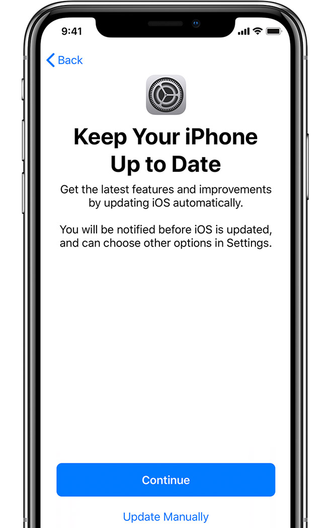 Automatic updates setup screen on iPhone