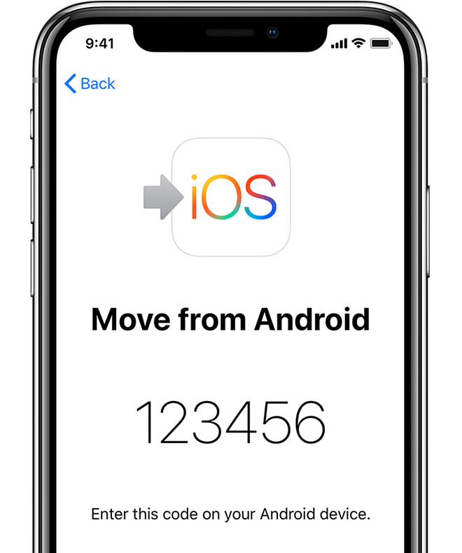 Move from Android screen on iPhone showing code