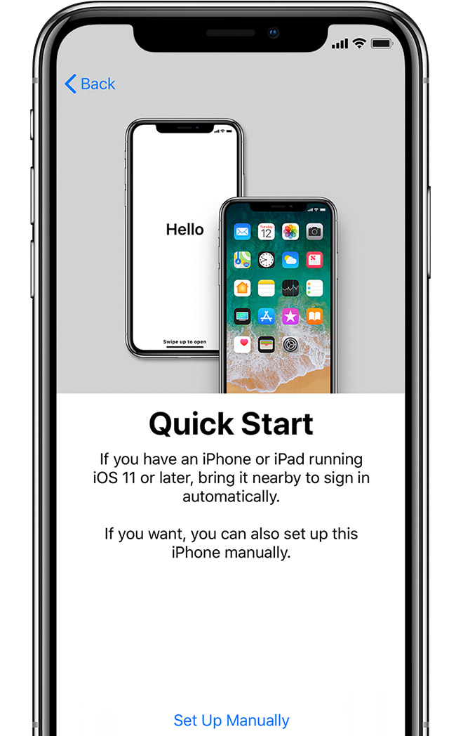 Quick Start screen on iPhone