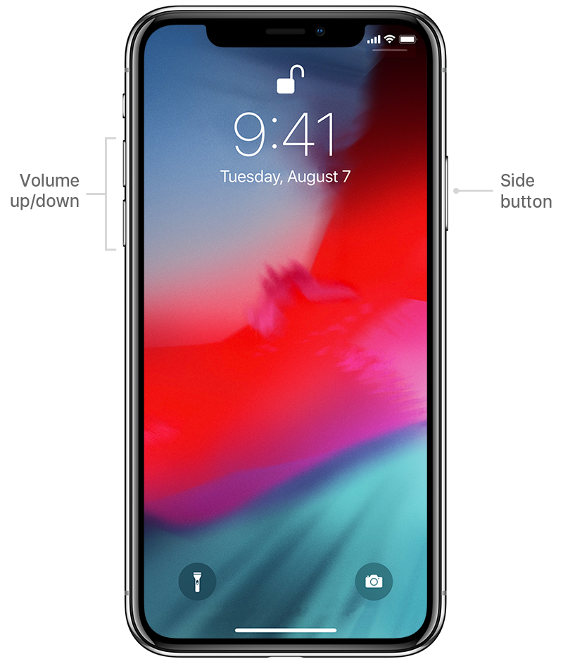 diagram showing volume and side buttons on iPhone X