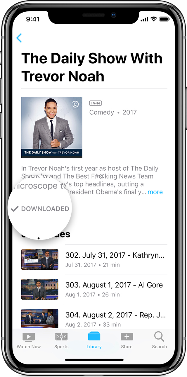 iPhone showing the Downloaded button below the description of a TV show.