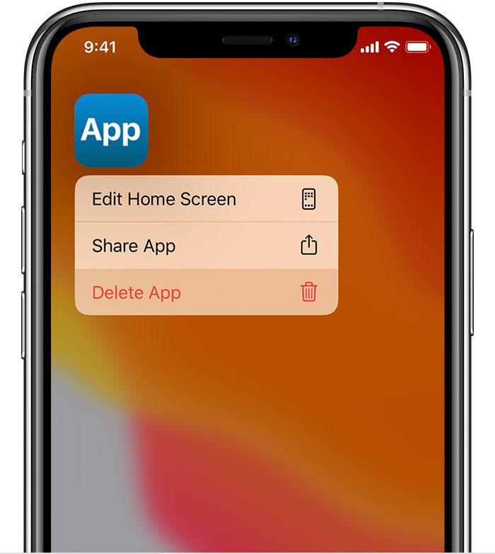 iphone delete app menu
