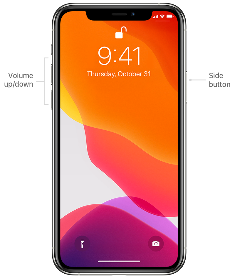 diagram showing volume and side buttons on iPhone 11 Pro