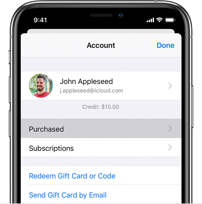 iPhone showing the Purchased option in the Account menu.