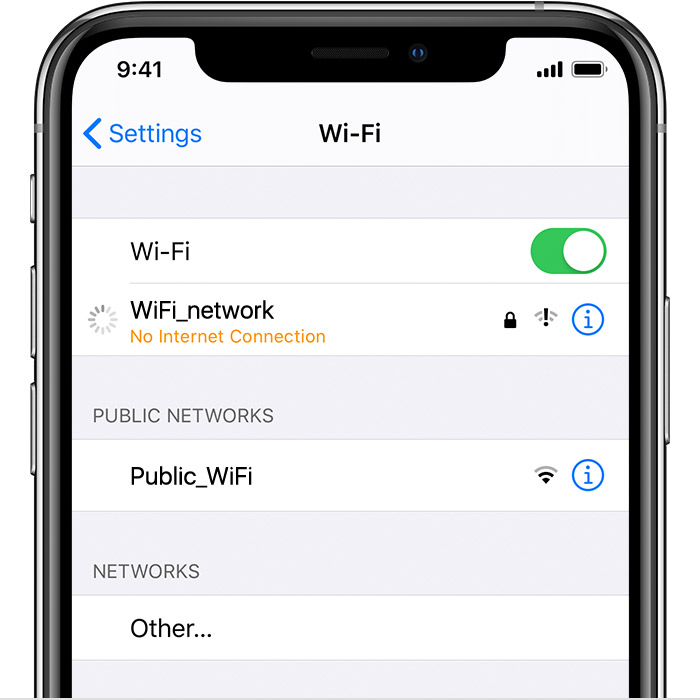 iPhone showing Wi-Fi settings. A message shows that no internet connection is available.