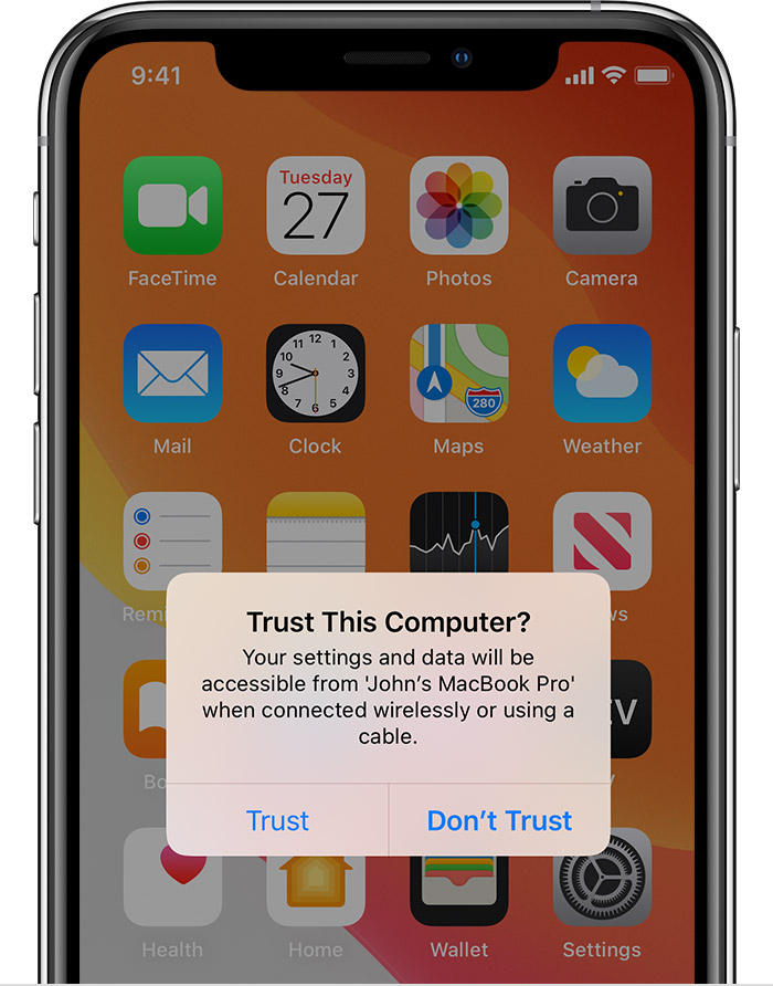 About the 'Trust This Computer' alert on your iPhone, iPad