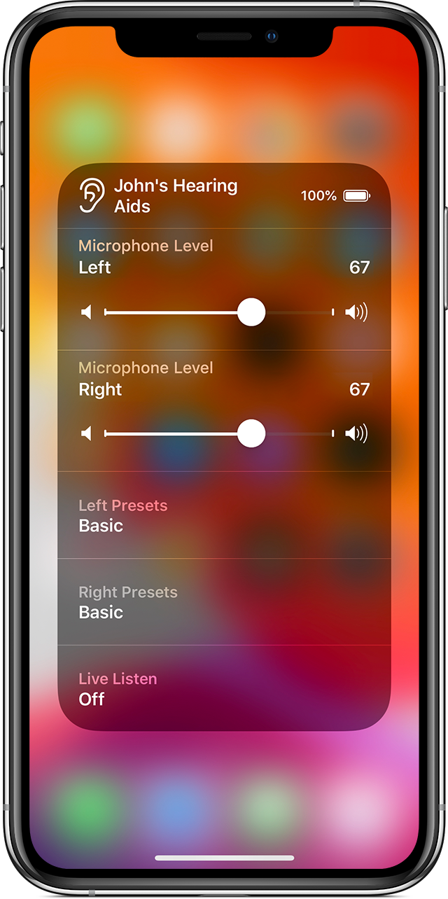 Use Live Listen with Made for iPhone hearing aids   Apple Support
