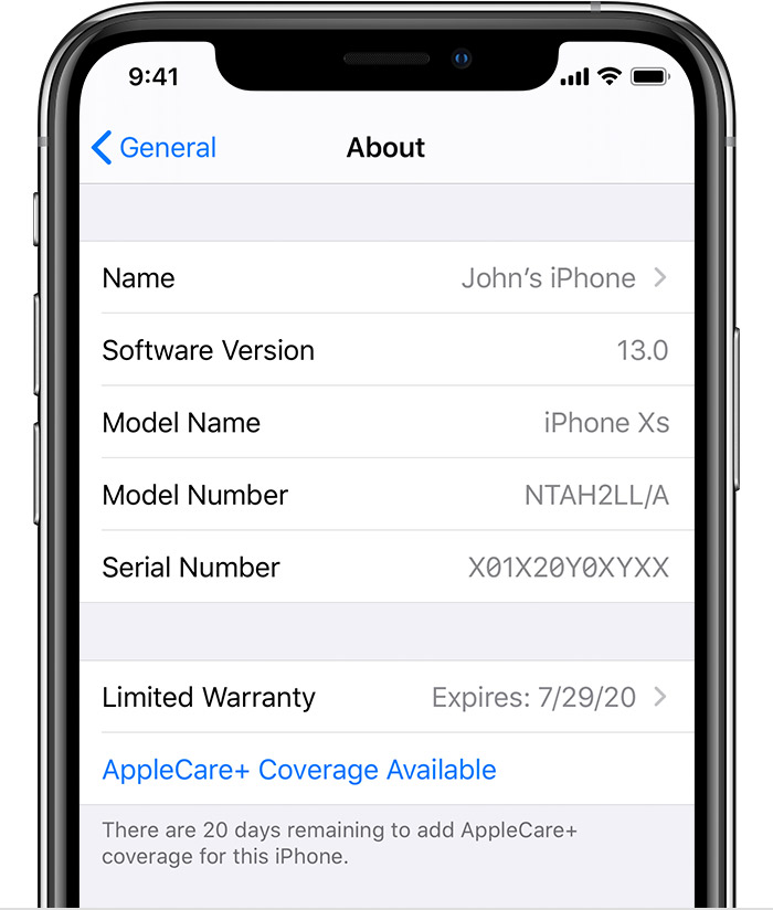 iPhone showing AppleCare+ Coverage Available in Settings.