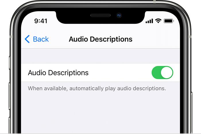 Что такое аудиодескрипция на айфоне. Включение аудиодескрипции на устройстве iPhone, iPad или iPod touch