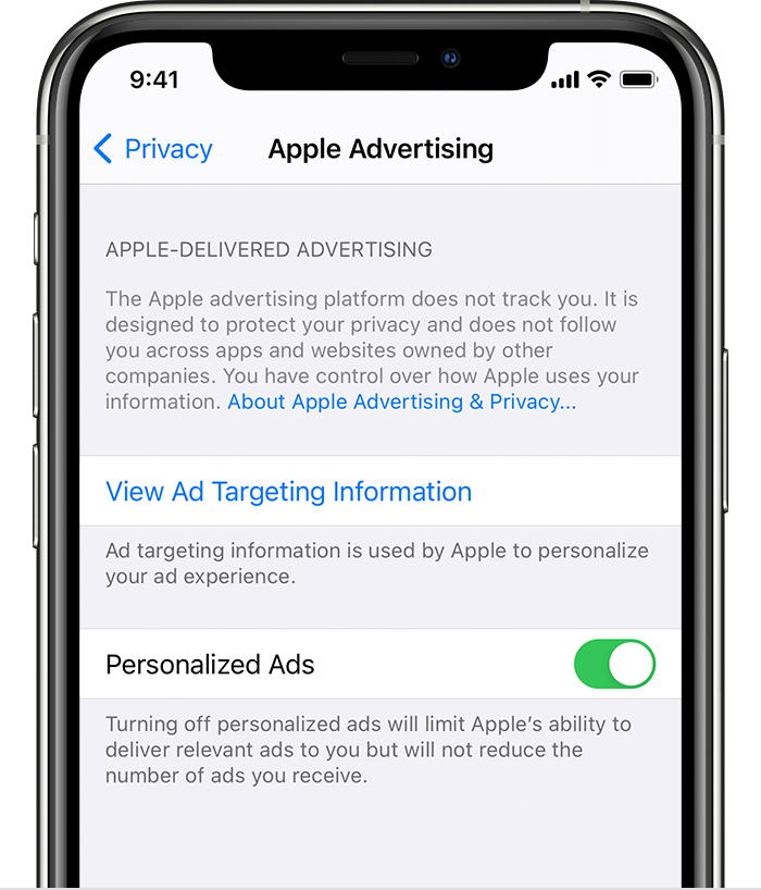 iPhone showing options in Apple Advertising including options for View Ad Targeting Information and Personalized Ads