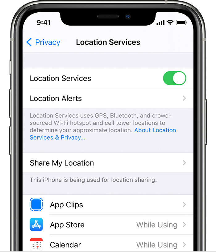 iPhone showing options in Location Services including options for Location Alerts and app-specific settings