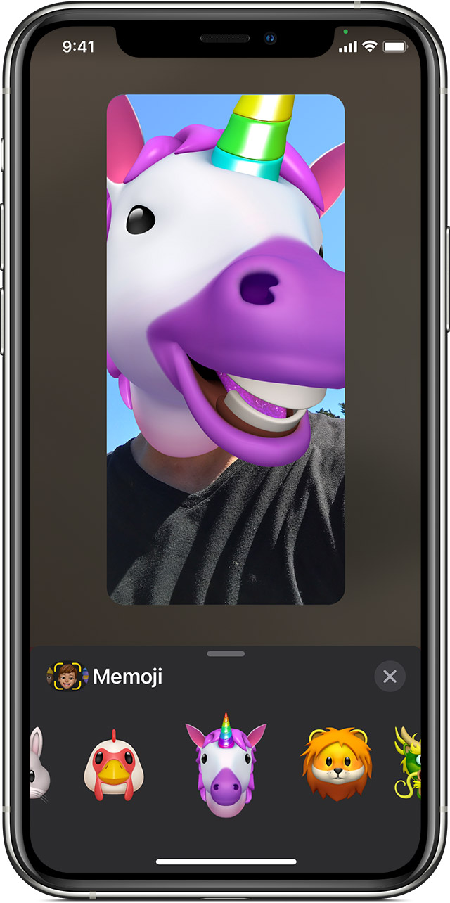 iPhone showing how to create animated Memoji in FaceTime