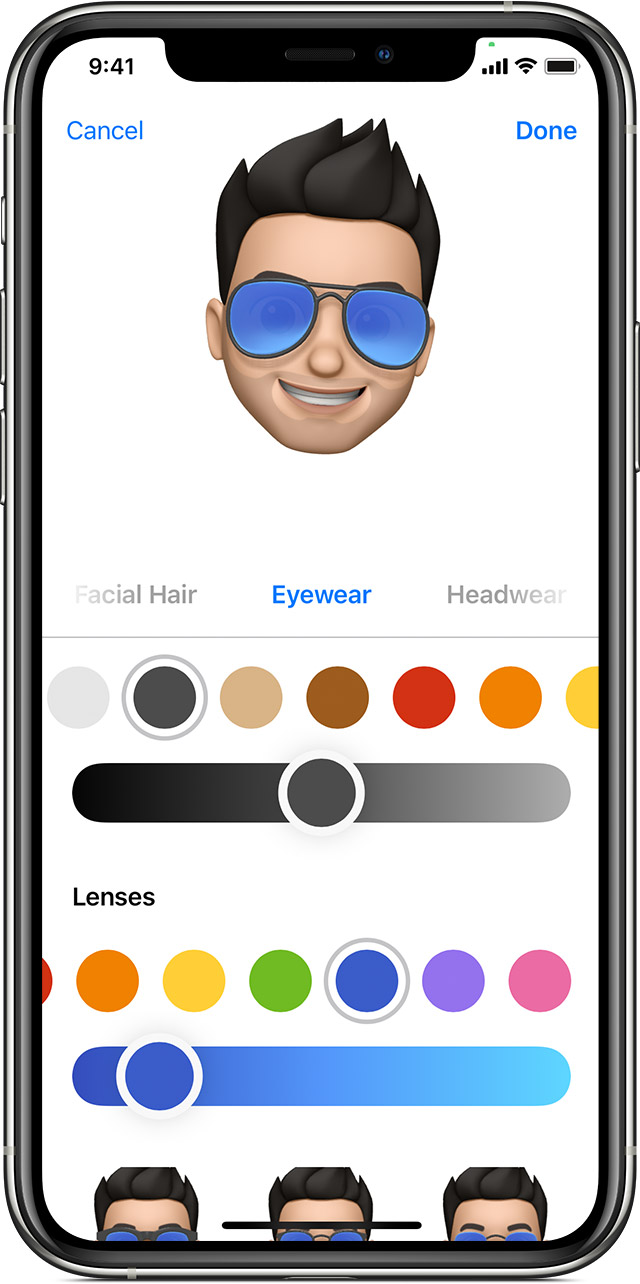 iPhone showing how to create a Memoji