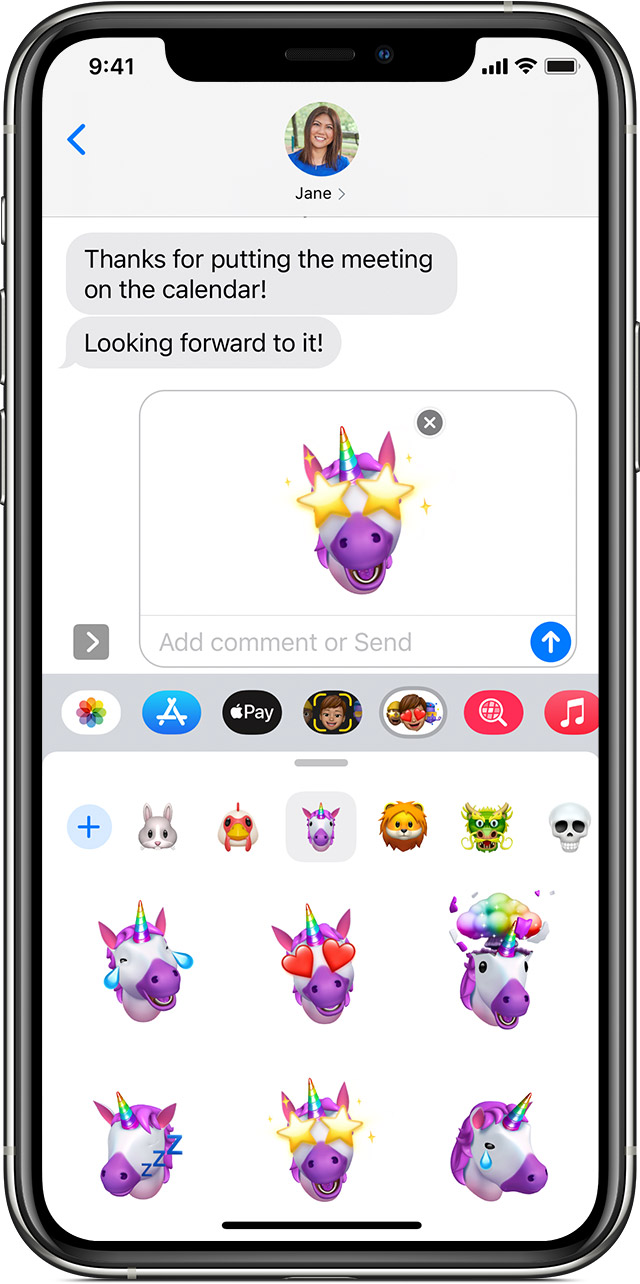 iPhone showing how to create a Memoji sticker