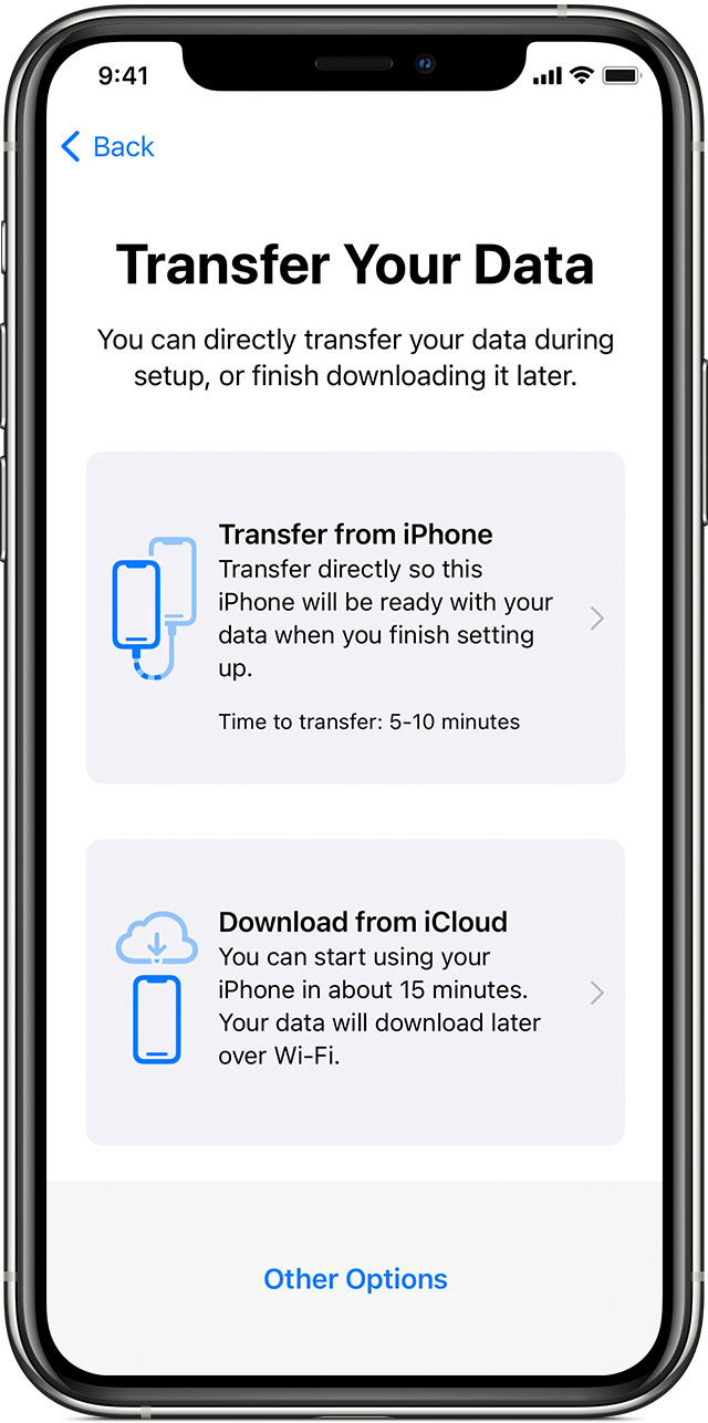 iPhone showing a screen that asks you to select whether you want to transfer data from your current iPhone or from an iCloud backup.
