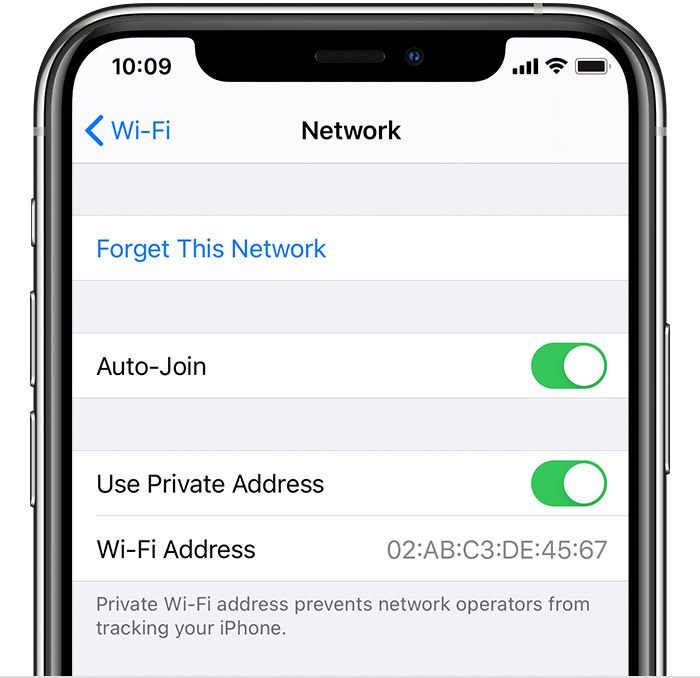 Wi-Fi information screen in Settings