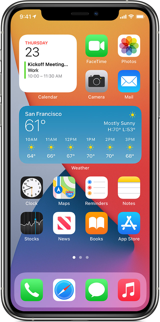 iPhone showing Home Screen with widgets