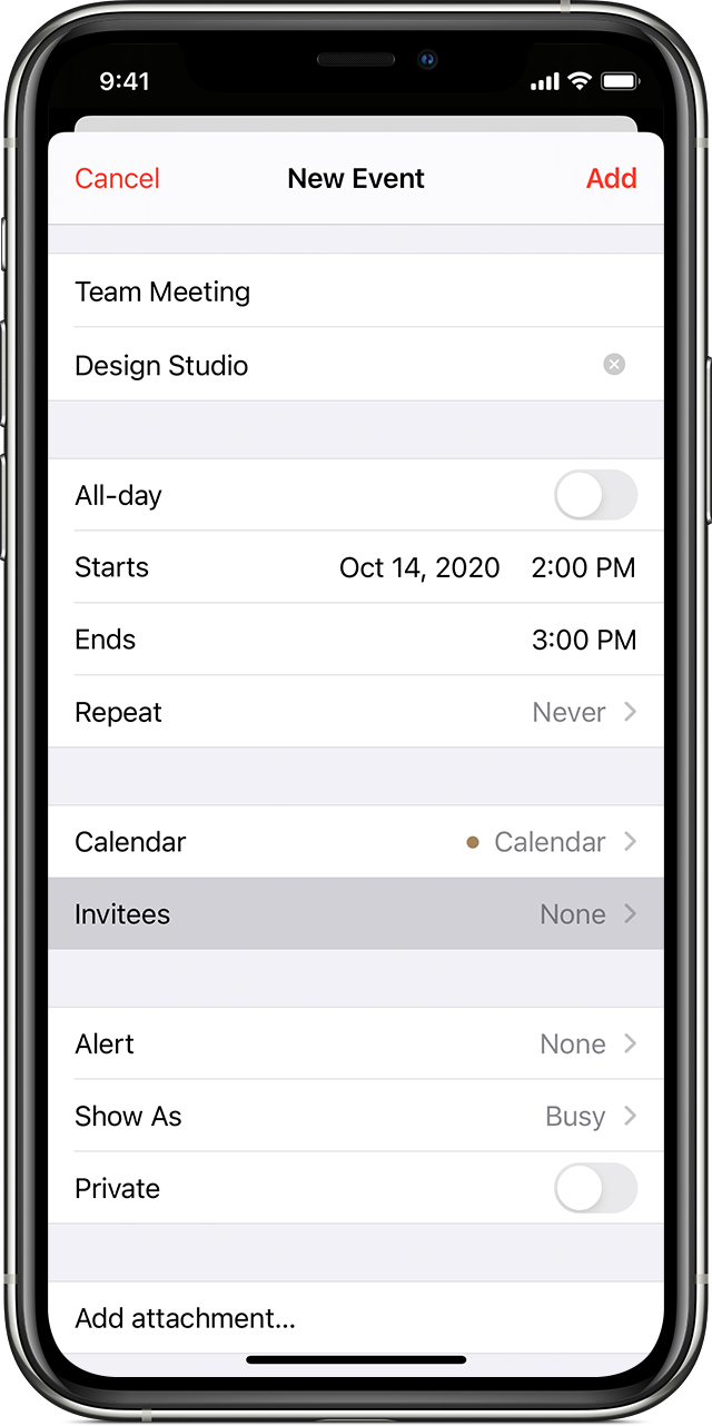 "iPhone calendar add New Event screen with ""Invitees"" selected"